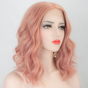 Aliblisswig Natural Straight Wavy Short Bob Lace Wig Heat Safe Fiber Hair Pink Curly Synthetic Lace Front Wig
