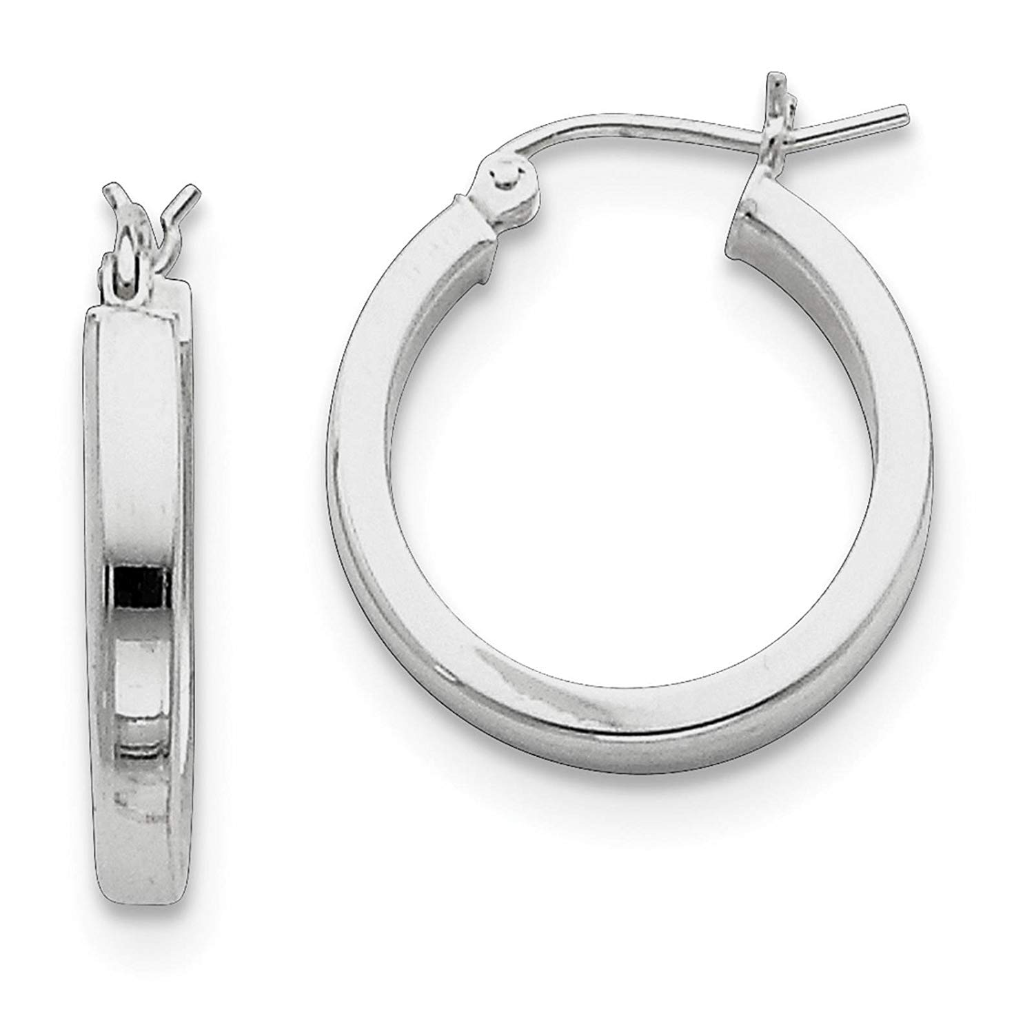 .925 Sterling Silver Rhodium-plated Polished Square-tube Hoop Earrings 3mm x 20mm