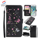 Embossed girl sticker pu leather wallet phone case card slots for iphone 8, flip cover leather phone case for iphone 7 8