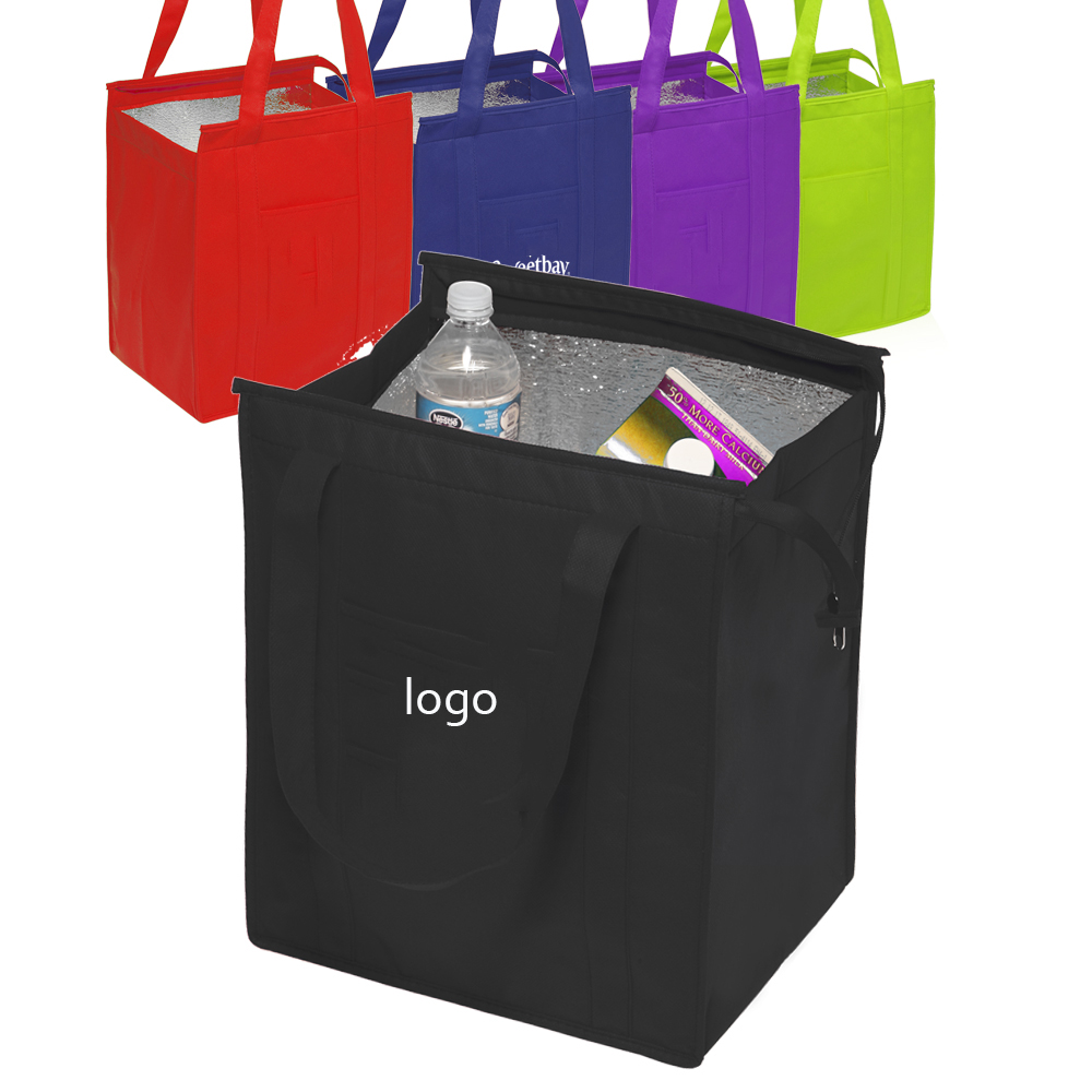 Wholesale Waterproof high quality Large folding non woven Reusable Insulated Totes  Lunch Cooler Carry Bag