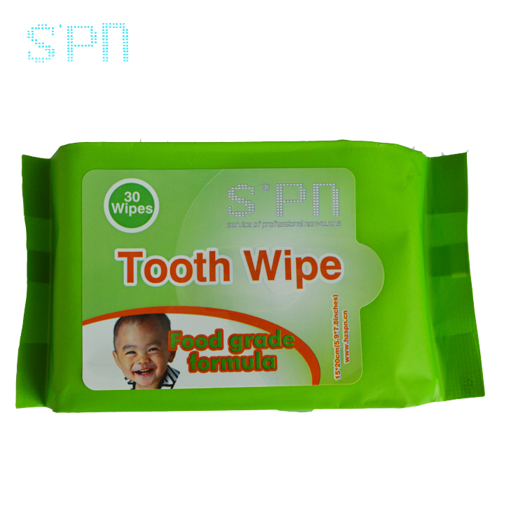 New wholesale natural food edible grade wet wipes for tooth cleaning