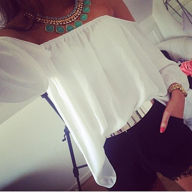 9371b07b891 Для женщин леди с открытыми плечами Мода Тонкий Vogue сладкий Fit  повседневное Sexy шифоновый топ Блузка