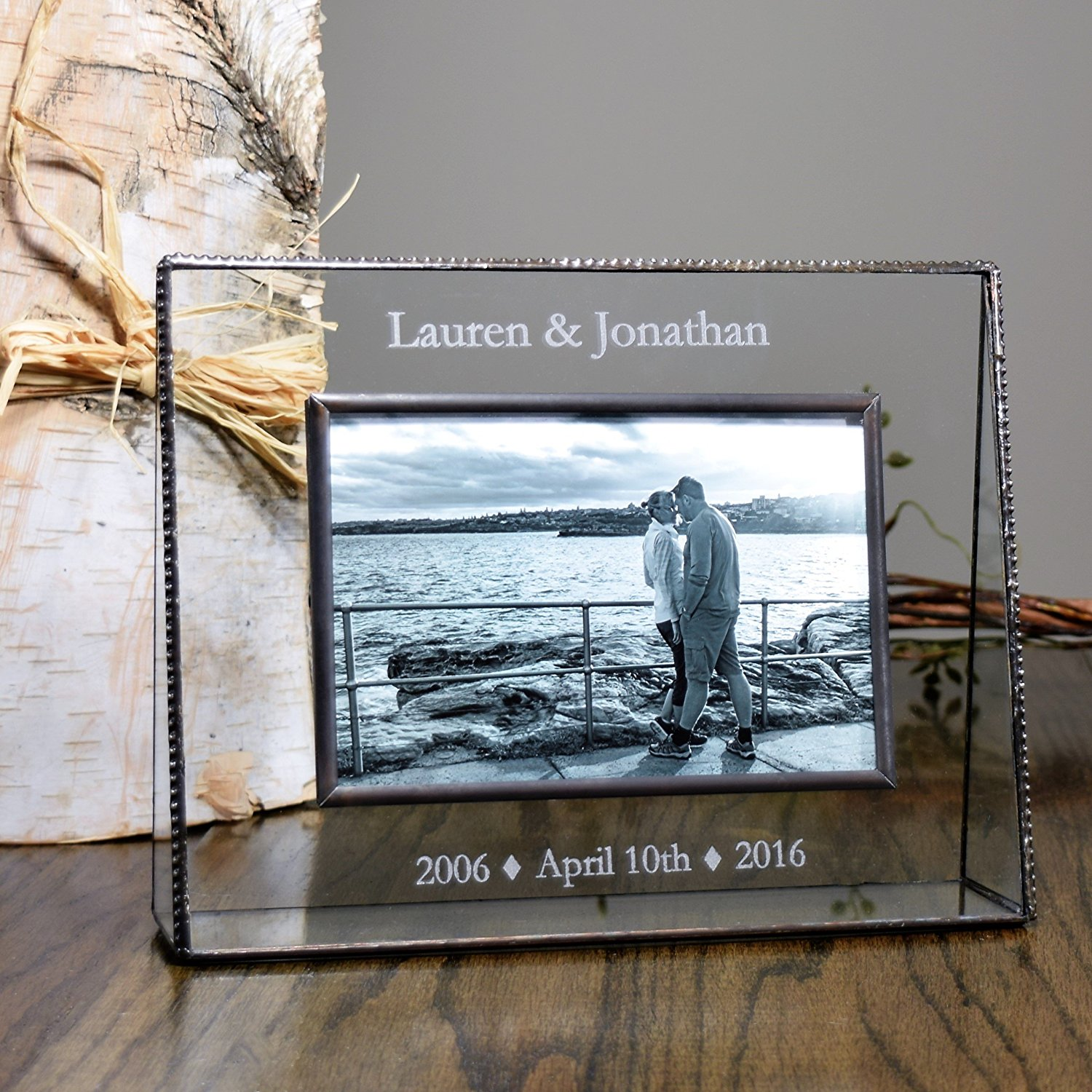 J Devlin Pic 319-57H EP549 Clear Glass Picture Frame Personalized Anniversary Photo Frame for 5x7 Horizontal Landscape Photo Frame