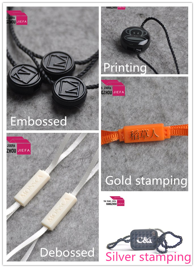 Plastic nylon cord loop logo on snap lock pin seal tag for bags