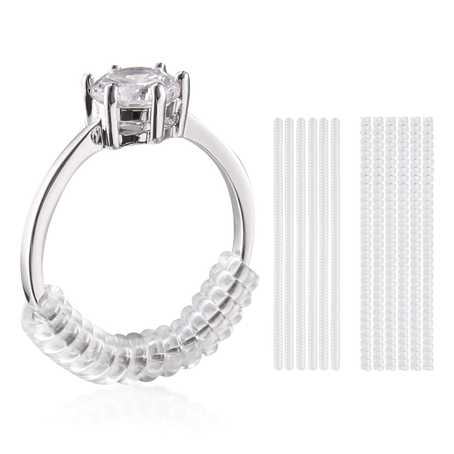 Get Quotations · Ring Size Adjuster For Loose Rings Guard With Sliver Polishing Cloth Set Of: Plastic Wedding Ring Spacer At Websimilar.org