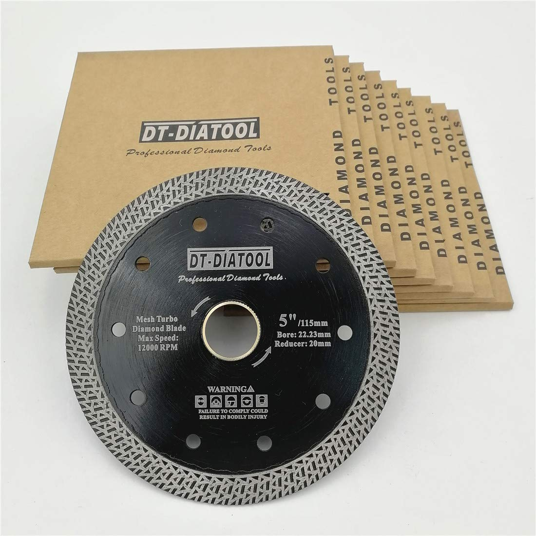 DT-DIATOOL Mesh Turbo Diamond Blade Hot Pressed Sintered Granite Marble Tile Ceramic Brick Diamond Cutting Disc Diameter 5 Inch Pack of 10