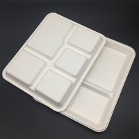 High Quality Take Away 5-Compartment Plates Bagasse Food Tray
