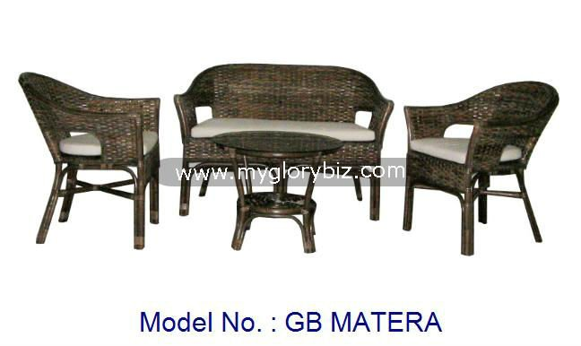 Living Room Sofa Set Manufacture By Rattan Indoor Furniture Suitable For Home With Armchair, Love Seat And Coffee Table