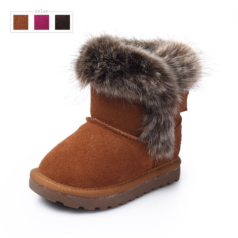 Get Quotations · Genuine leather kids snow boots, Baby winter boots for  girls and boys, Warm cute