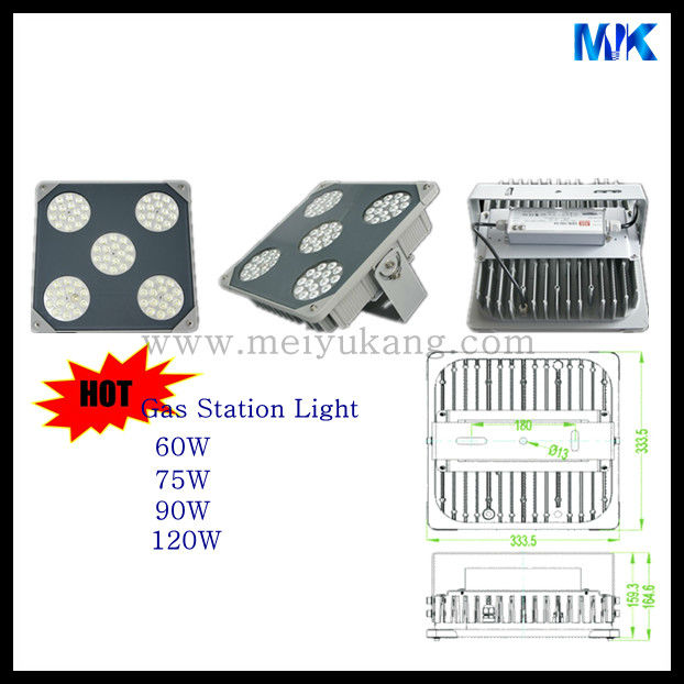 aluminum alloy materials & glass led gas station canopy lighting 60W 75W 90W 120W gas station lighting heatsink ip67