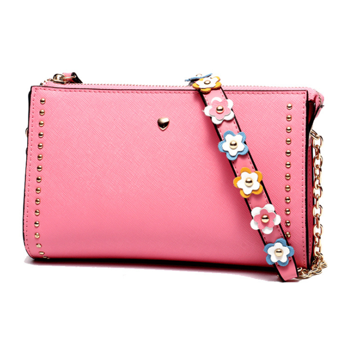 Flower chain <strong>genuine</strong> <strong>leather</strong> crossbody pouch rivet messenger <strong>bag</strong> for ladies