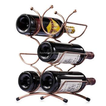 Metal Wine Rack Holder 6 Bottles Organizer Stand Freestanding