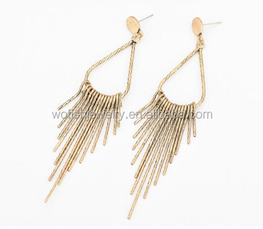 Gold Fringe cluster tiny rod dangle earring
