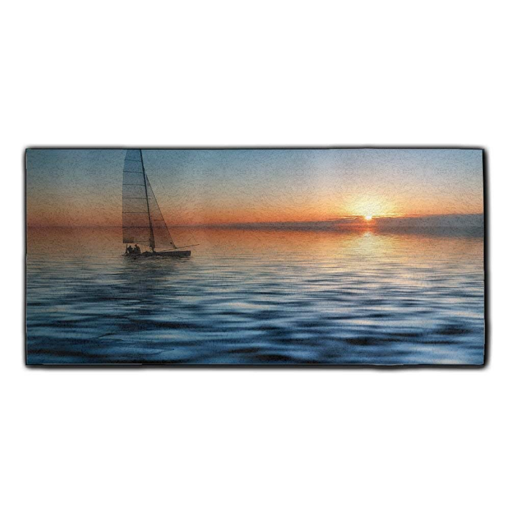 Baerg Microfiber Super Absorbent Face Towel Ocean Sunset Sailboat Hair Care Towel Gym And Spa Towel