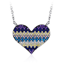 Multicolor Rainbow Colorful Zircon Heart 925 Sterling Silver Jewelry Necklace For Mom Girlfriend