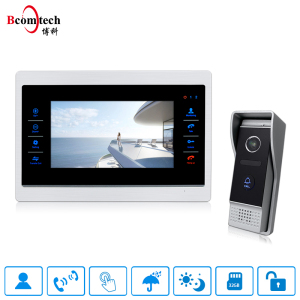 Bcomtech home security 7 inch intercom IP65 waterproof wide angle outdoor camera 4 wire door bell
