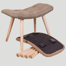 folding KD fabric small wood stool wooden foot stool