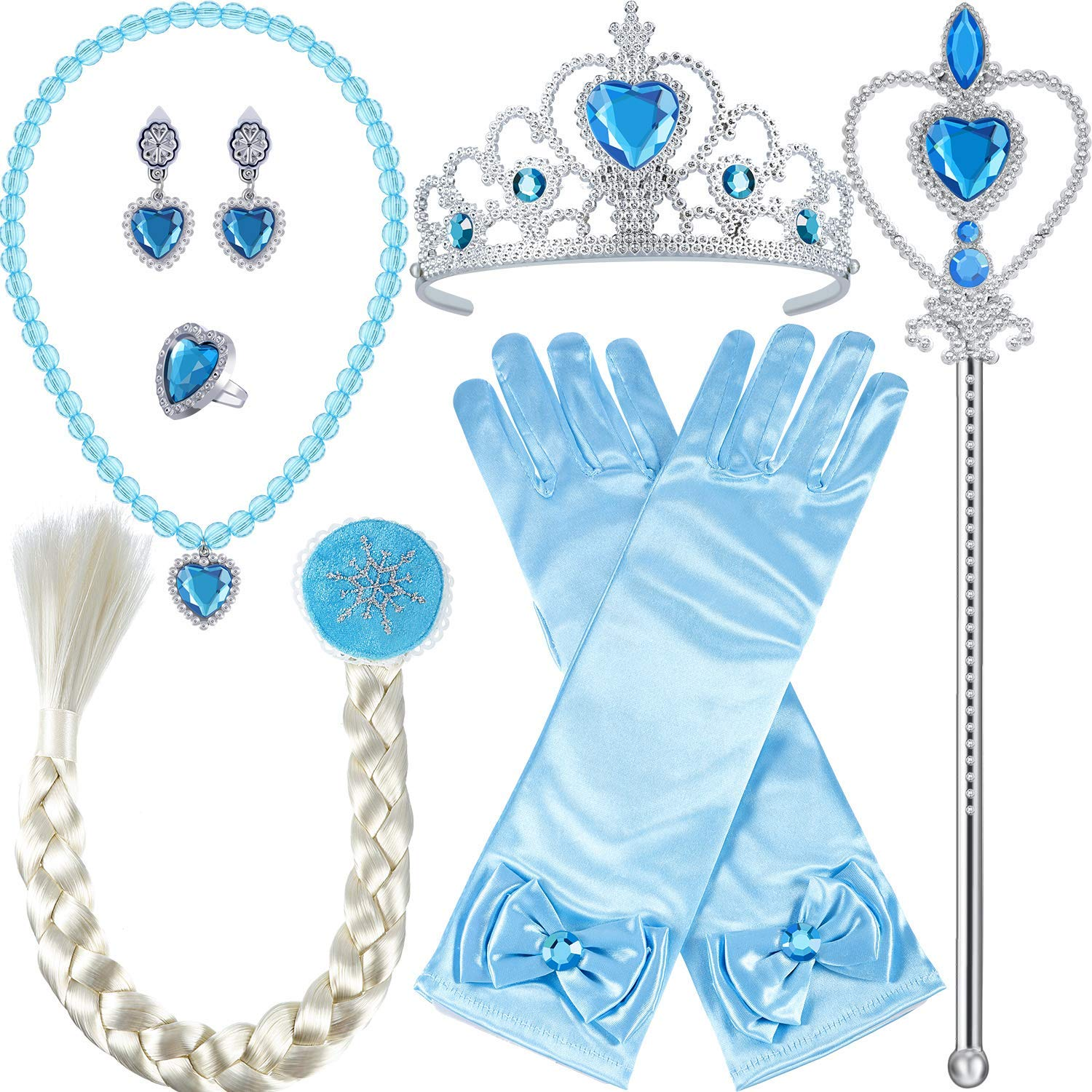 Tatuo 9 Pieces Princess Dress Up Accessories Girls Kids Full Costume Set, Includes Earrings Gloves Wand Braid Crown Necklace Rings, Blue