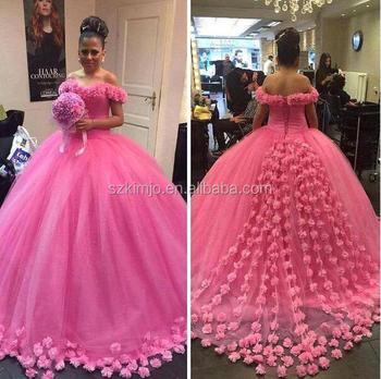 2018 Pink Floral Elegan Putri Gaun Pengantin Untuk Pengantin Saudi