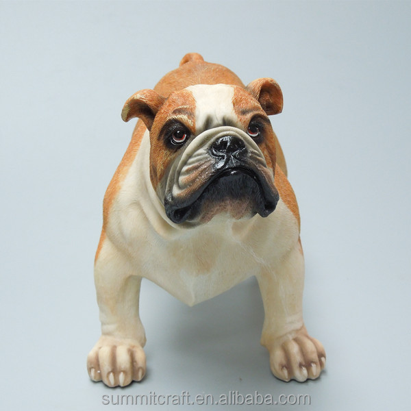 Realistic 3D resin french bull dog figurines
