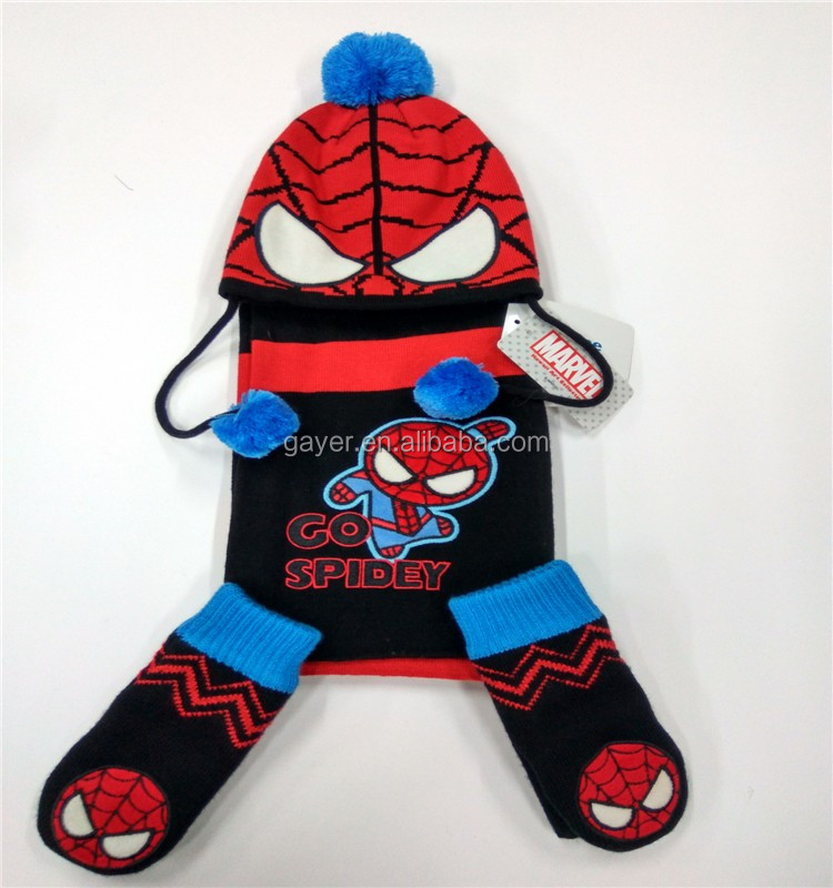 new style fashion spiderman kids knitted embroidered hat scarf glove set