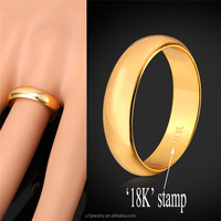 Gold Ring Men /Women Gift Wholesale 18k Real Gold/Platinum Plated 5MM Wide Classic Gold Wedding Bands Rings for Men Jewelry