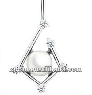 Charm pearl silver plated pendant necklace with clear CZ stone