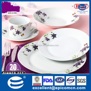 classic porcelain items nice purple flower round plates porcelain ware dinnerware products selling well in Turkey