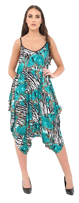 b6ed1d6575 Get Quotations · Women Plus Size Cami Lagenlook Romper Baggy Ladies Harem  Jumpsuit Playsuit Dress Playsuit Dress
