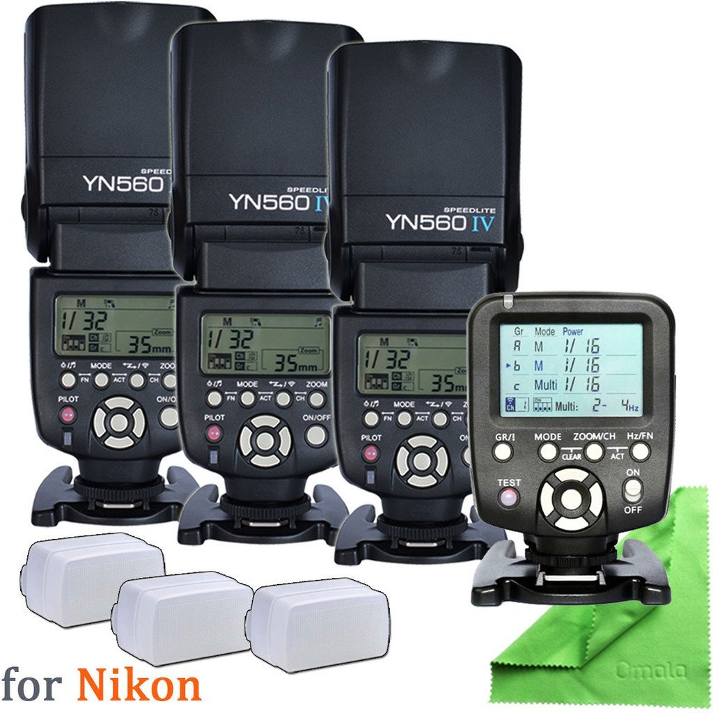 3 Pcs Yongnuo YN560 IV Camera DSLR Flash + 1 Pcs YN560TX-Nikon + 3 Pcs Diffuser for Nikon DSLR Camera