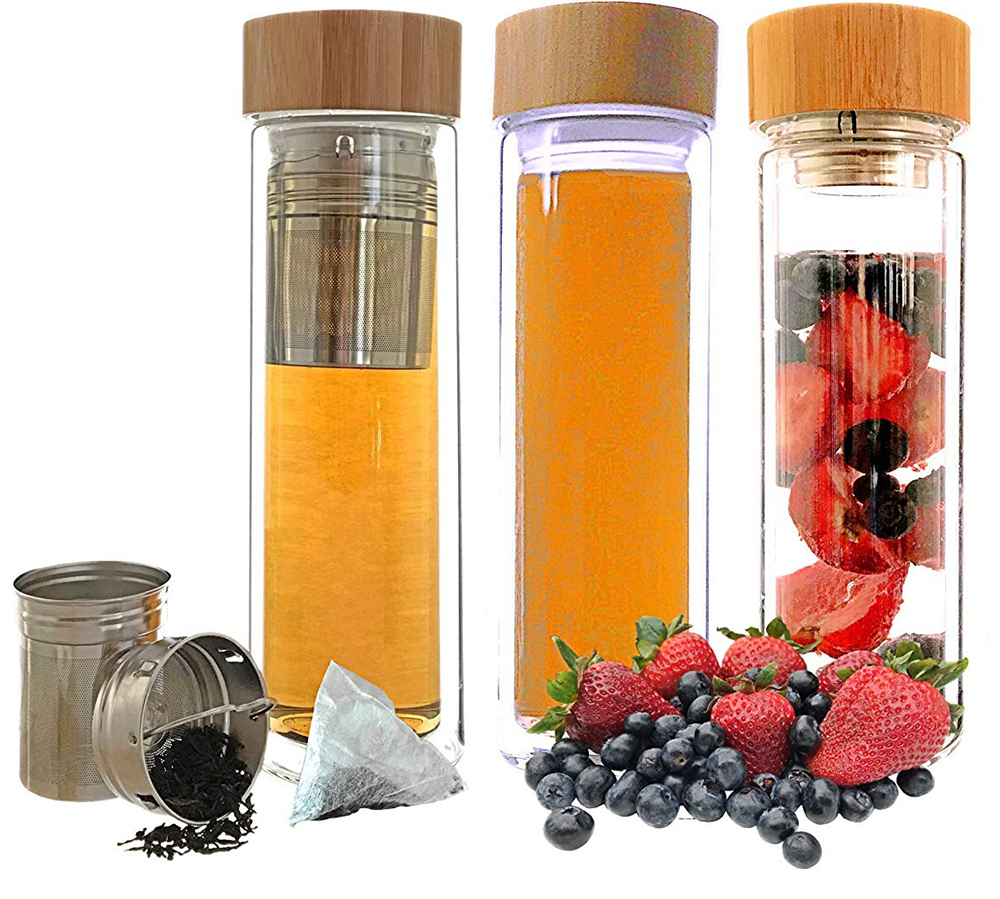 Fancy 16OZ Glass Water Bottle Bamboo Lid, Double Wall Tea Tumbler with Infuser
