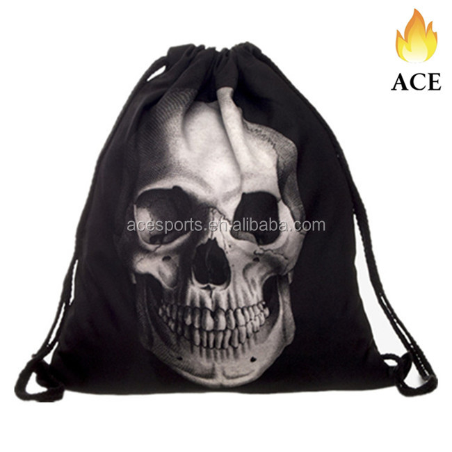 OEM hot sale black plain custom drawstring backpack for outdoor activity