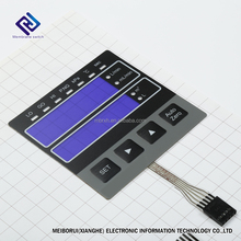 Integrated Testing Machine Membrane Switch Keypad with Transparent Window and Embossed