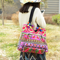 Top quality embroidered shoulder bag Vietnam embroidery bags
