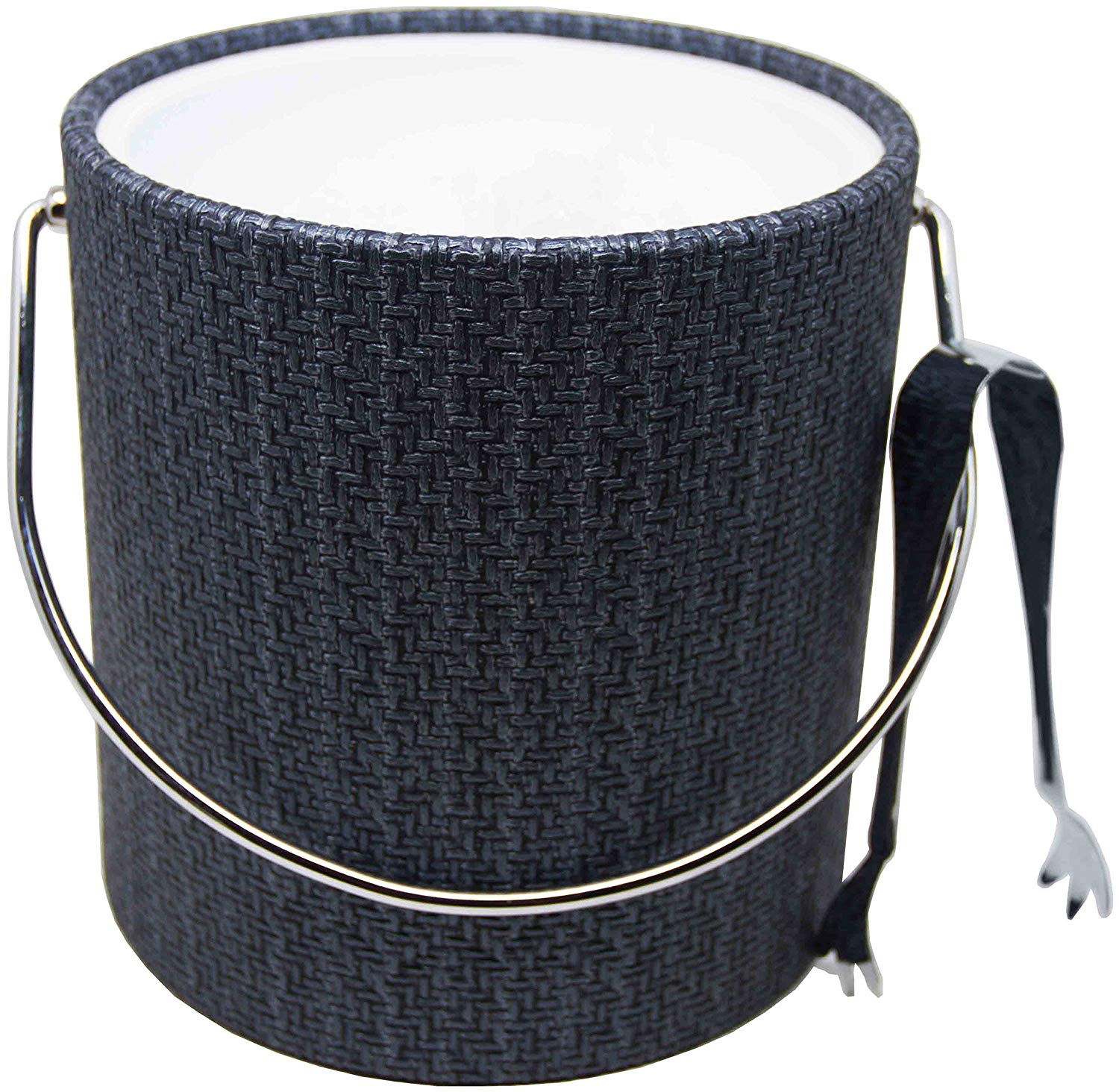 Hand Made In USA Blue Metallic Double Walled 3-Quart Wicker Insulated Ice Bucket With Bonus Ice Tongs