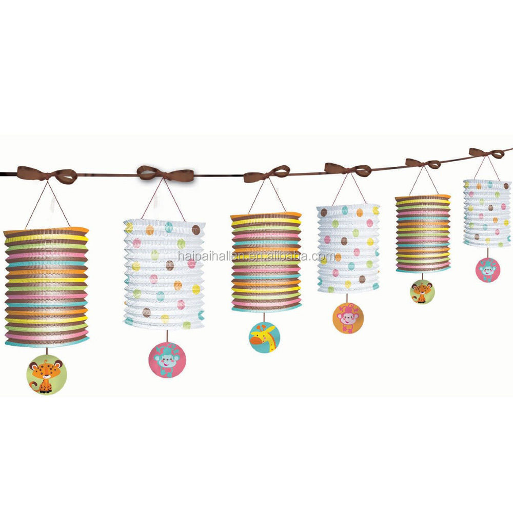 Cylinder accordion paper lantern garland for baby shower decoration