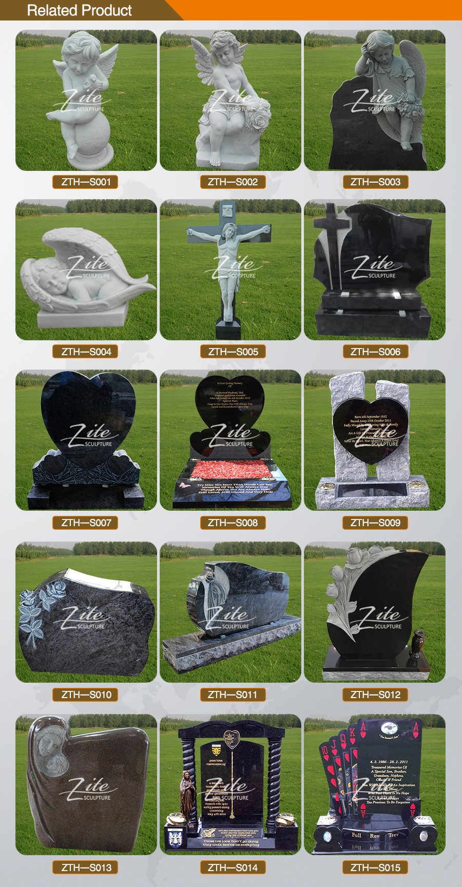 Spot product carved headstone marble heart shaped angle granite stone tombstone