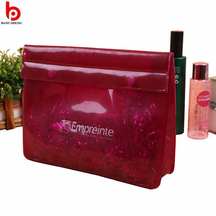 Red color pvc button bag for cosmetic makeup packaging
