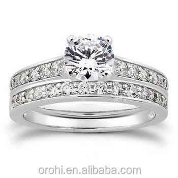 Fashion Jewelry Wedding Band 9k 18k Double White Gold Diamond ...