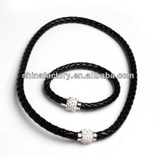 2014Fashion Popular Braid Leather Necklace bio Germanium Magnetic Necklace