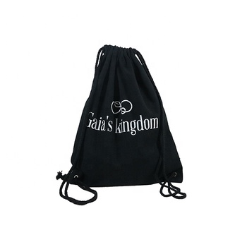 Low MOQ Customised Gift Cotton Cloth Drawstring Backpack Cotton Canvas Bag With Logo