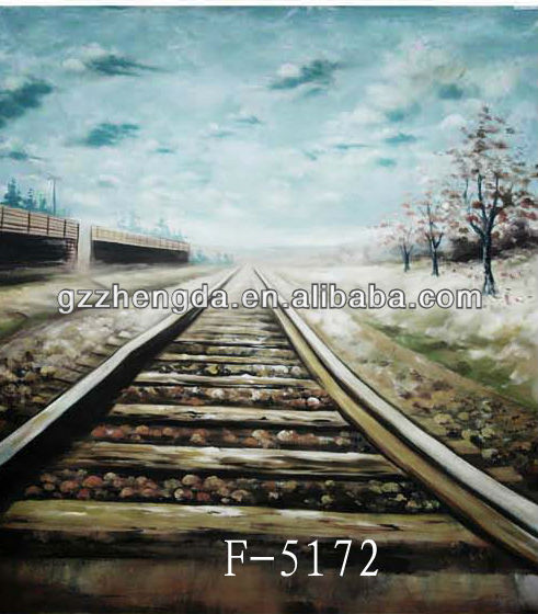 High Quality Factory Custom Made-In-China Hand Painted Railway Track Scenic Photography Backdrop For Model