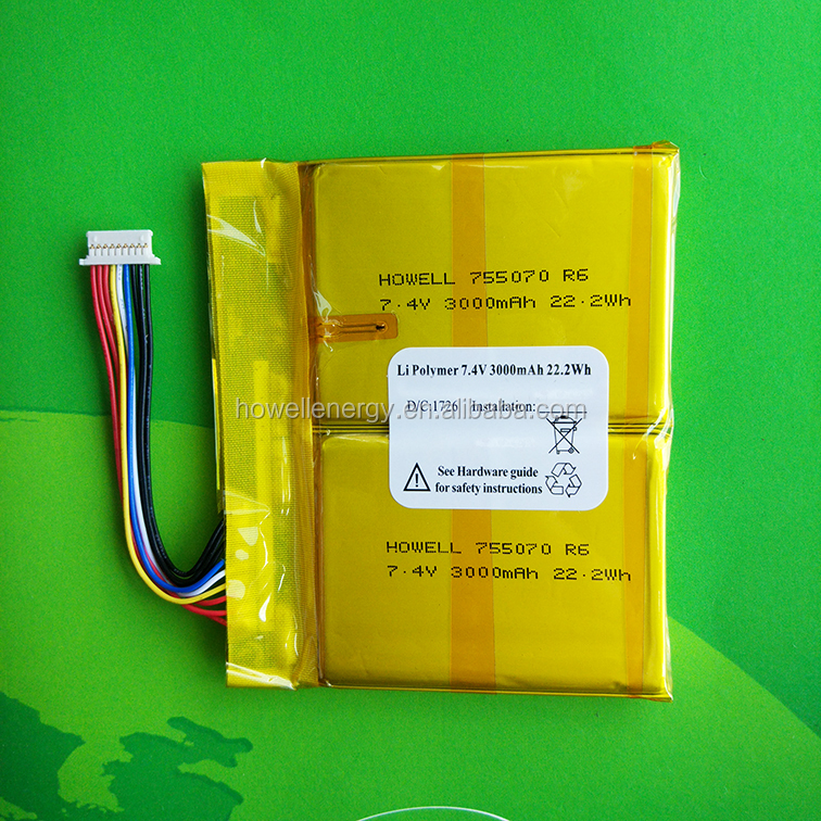 high energy 755070 7.4v 3000mah 2S1P rechargeable li ion polymer battery pack