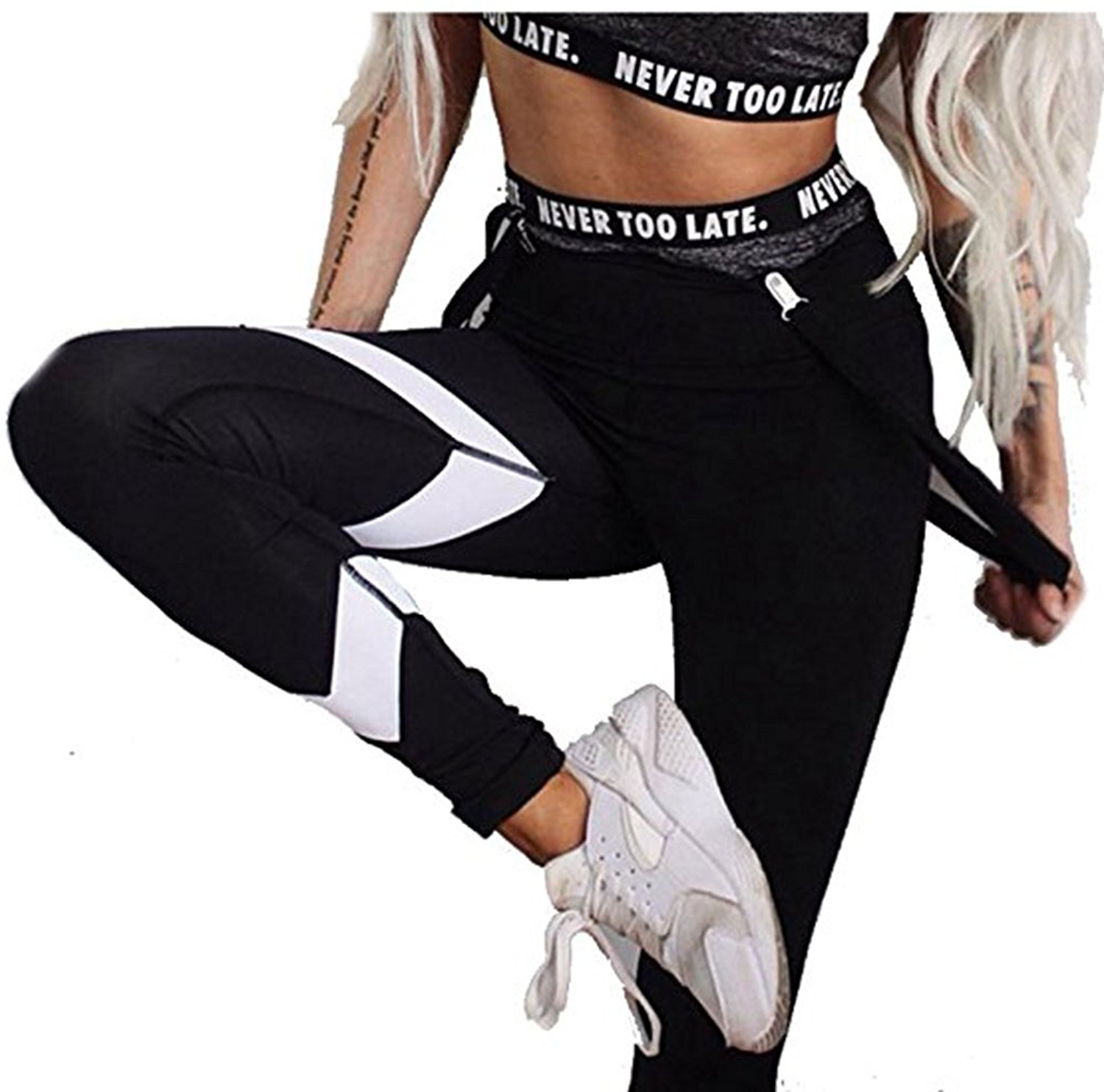 bf15547c66b7c2 Get Quotations · Black Yoga Leggings White Stripes Pritned Yoga Pants  Elatic High Waisted Butt Lift Tights Workout Pants