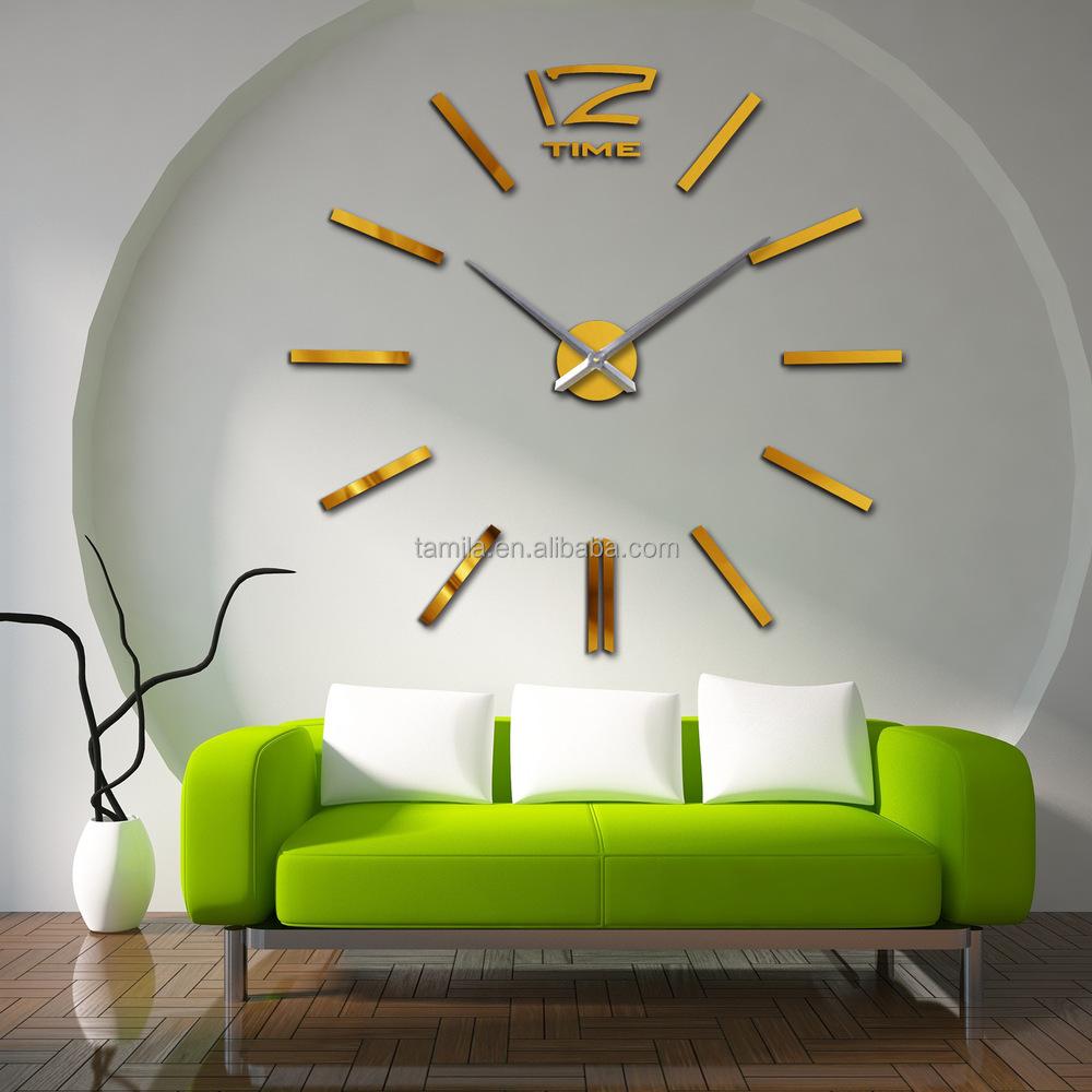 silver color mirror wall clock luxury home decorative 3d