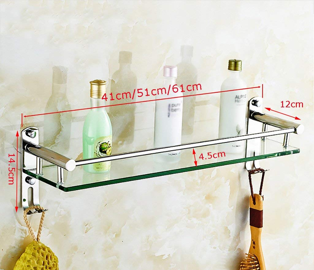YXWzwj Bathroom shelf Bathroom shelves,bathroom corner shelf,bathroom wall shelves,bathroom rack,glass shelf brackets,tempered glass shelves,wall mounted bathroom shelves (Size : 41cm)