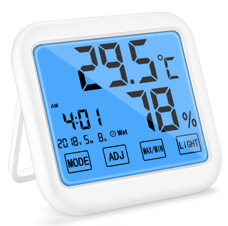 Indoor LCD MAX MIN Clock Temperature Humidity meter Thermometer Digital LED thermo hygrometer