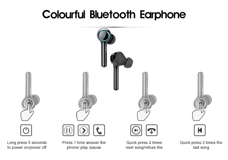 T60 Breathing LED light  headphones wireless Bluetooth earbuds With Microphone True Wireless  earphone  for Music