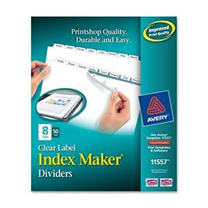 Avery Index Maker Label Divider - 8 x Tab - 8.5amp;quot; x 11amp;quot; - 50 / Box - White Tab