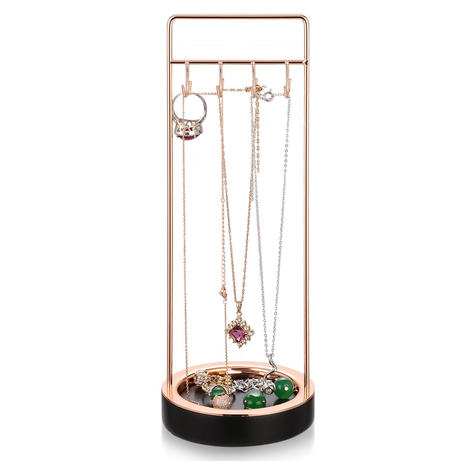 Black Resin Rose Gold Metal Jewelry Tree Stand Bracelet Necklace Organizer Display Rack Ring Tray